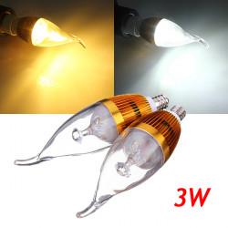 E12 3W Dimbar Vit / Varmvit LED Ljuskrona Candle Ljus Lampa 220V