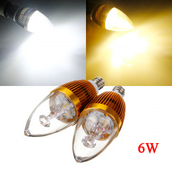 E12 6W 3 LED White/Warm White LED Chandelier Candle Light Bulb 85-265V