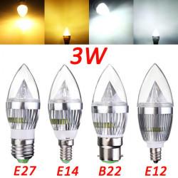 E12 E14 E27 B22 3W LED Lysekrone Candle Lys Pære 85-265V