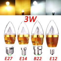 E12 E14 E27 B22 Dæmpbar 3W LED Lysekrone Candle Lys Pære 220V