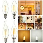 E14 2W reines / warmes Weiß Edison Filament LED COB Flamme Lampe 85 265V LED Lampen