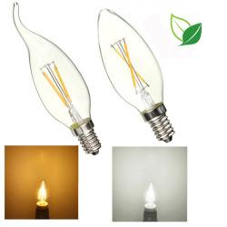 E14 2W Pure / Varm Hvid Edison Filament LED Candle Flame Lamp 85-265V