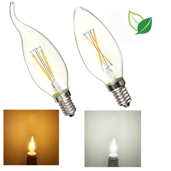 E14 2W Pure / Varm Hvid Edison Filament LED Candle Flame Lamp 85-265V LED-pærer
