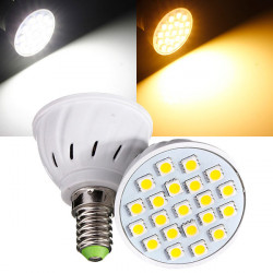 E14 3W 220V 21 SMD 5050 Vit / Varmvit LED Spotlight