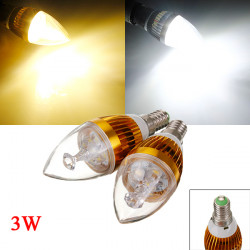 E14 3W 3 LED Vit / Varmvit LED Golden Candle Ljus Lampa 85-265V