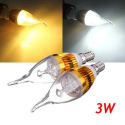 E14 3W Dimbar Vit / Varmvit LED Ljuskrona Candle Ljus Lampa 220V