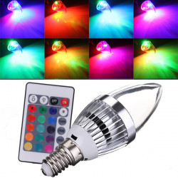E14 3W RGB AC85-265V LED Candle Light Bulb With Remote Control