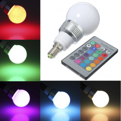 E14 3W RGB Globular LED Lamp Bulb Ball Bulb Light AC 85-265V