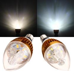 E14 3W wärmen Weiß / Weiß Goldene Kronleuchter Kerze Glühlampe 220V