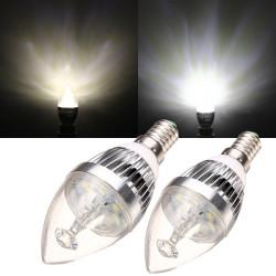 E14 3W Warm White/White Silver Chandelier Candle Light Bulb 220V