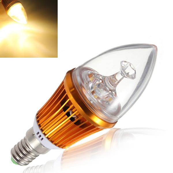 E14 4.2W 3LED Non Dimmable Warm White Light Bulb Base 85-265V LED Light Bulbs