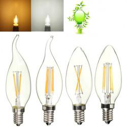 E14 4W reines / warmes Weiß Edison Filament LED COB Flamme Lampe 85 265V