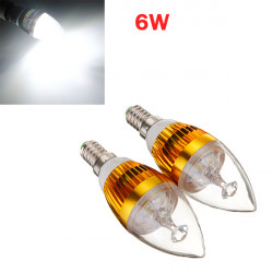 E14 6W 3 LED Cool White LED Golden Candle Light Bulb 85-265V