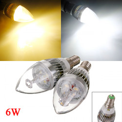 E14 6W 3 LED White/Warm White LED Chandelier Candle Light Bulb 85-265V