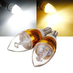 E14 6W weißes / warmes Weiß 3 LED Goldenen Leuchter Kerzenlampe 85 265V