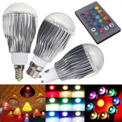 E14 9W RGB LED Magic Light Bulb Lamp With IR Remote Control AC 85-265V
