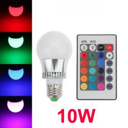 E27 10W 16 Farve Veksling RGB LED Ball Løg 85-265V + IR Fjernbetjening