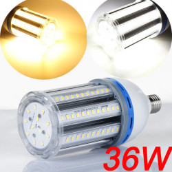 E27 36W LED Lampa Vit / Varmvit 108 SMD5630 90-260V