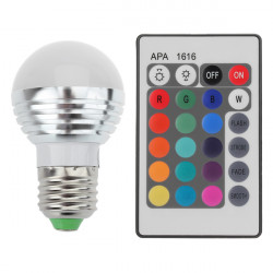E27 3W 16 Color Change RGB LED Ball Bulb lamp 85-265V +IR Remote