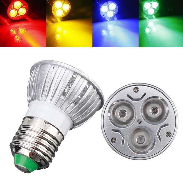 E27 3W AC 220V 3 LEDs Red/Yellow/Blue/Green LED Spot Light Bulbs LED Light Bulbs
