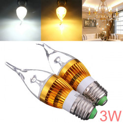 E27 3W AC85-265V White/Warm White Golden Cover LED Candle Light Bulb