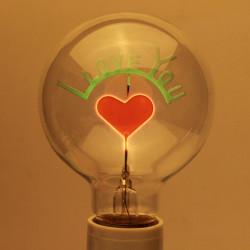 E27 3W Edison Lampor Jag Älskar Dig Formad Dekorativ Glödlampa 220V
