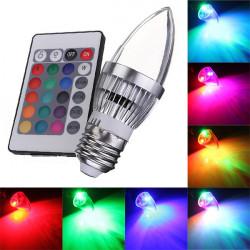 E27 3W RGB AC 85 265V LED Kerze Glühlampe mit Fernsteuerungs