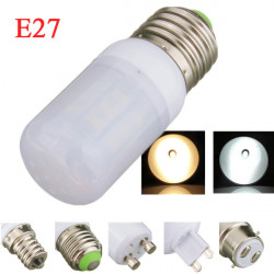 E27 4W 5730SMD Vit / Varmvitt LED Corn Lights Lampa Ivory Cover 110V