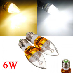 E27 6W 3 LED Vit / Varmvit LED Golden Candle Ljus Lampa 85-265V