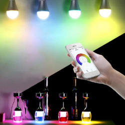 E27 6W RGB LED Smart Bulb Wifi Wireless Remote Control Dimming AC 220V