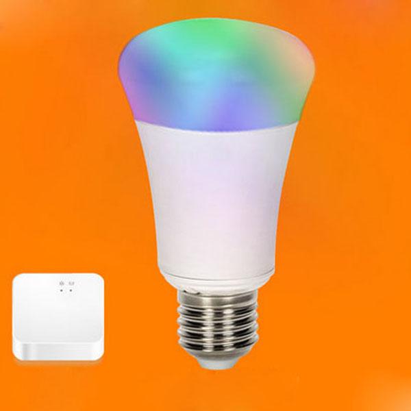 E27 6W RGB Wifi Trådlös Fjärrkontroll Dimming LED Smart Lampa + Bridge AC 220V LED-lampor