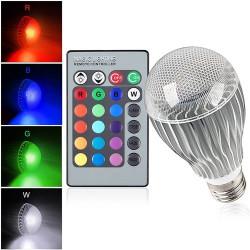 E27 9W IR Fjärrkontroll 16 Färgförändring RGB LED Ball Lampor 85-256V