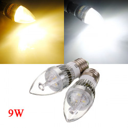 E27 9W White/Warm White 3 LED Silver Chandelier Candle Bulb 85-265V