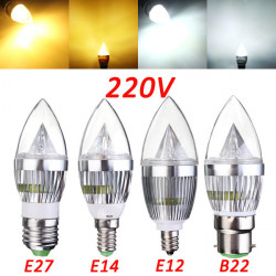 E27 E14 B22 E12 4.5W Dæmpbar LED Lysekrone Candle Lys Pære 220V