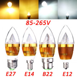 E27 E14 B22 E12 4.5W LED Ljuskrona Candle Ljus Lampa 85-265V