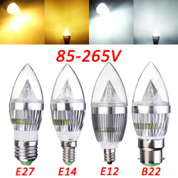 E27 E14 B22 E12 4.5W LED Chandelier Candle Light Bulb 85-265V