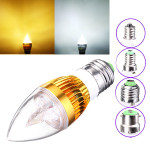 E27 E14 E12 B22 3W AC85-265V Golden Cover LED Candle Light Bulb LED-lampor