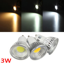 GU10 3W 300-330LM Dimmable COB LED Spot Lamp Light Bulbs AC 220V