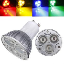 GU10 3W AC 220V 3 Lysdioder Röd / Gul / Blå / Grön LED Spotlight