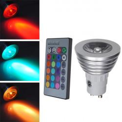 GU10 3W RGB LED Light Bulb Remote Control AC 85-265V