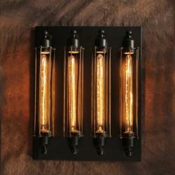 Industriell Pipes Stil med 4 Edison Lampa Vägglampa Väggdekoration