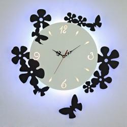 LED Mute Clock Væglampe Soveværelse Sengelampe Dekoration Hanging Lys