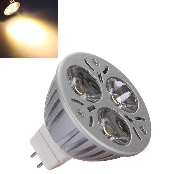 MR16 3W 3 LED 270 Lumen 3200K Warm White Spot Light Bulb DC 12V LED Light Bulbs