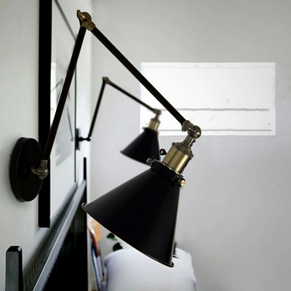 Nordic Retro Style RH Industrial Wall Lamp With Double Adjustable Arm Wall Lights