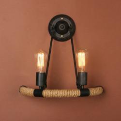 Retro Rope Dobbelt Væglampe Soveværelse Corridor Bar Dekoration Lamp