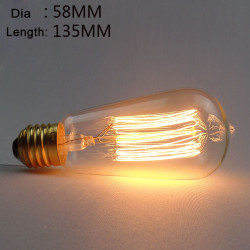 ST58 E27 40W Retro Edison Lampa AC 220V Glödlampa