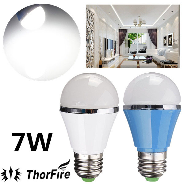 ThorFire E27 7W SMD 5730 AC 85-265V Vita LED Globe Light Bulb LED-lampor