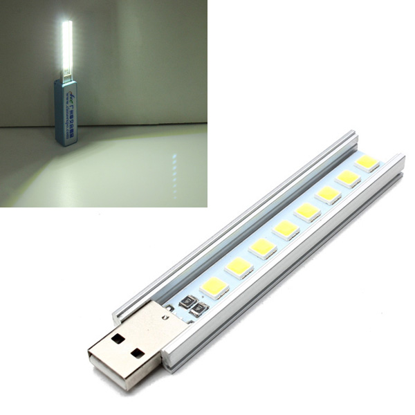 10CM 1.4W 8 SMD 5152 Pure White USB LED Light Lamp Rigid Strip LED Strip