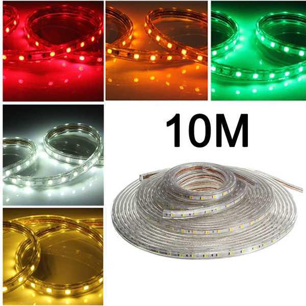 10M 5050 Vattentät IP67 Flexibel Led Slinga Ljus för XMAS Heminredning 110V LED Slingor / Ljusslingor