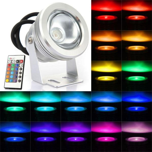 10W RGB Farveskiftende Vandtæt Fjernbetjening LED Projektør LED Belysning